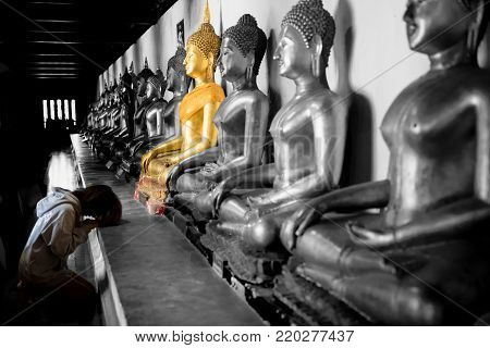 Beautiful asia woman pay respect to buddha statue, Beautiful asian woman to pay respect and praying Buddhism worshiping Buddha statue in Thailand