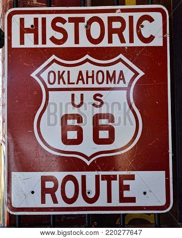 Historic Us Route 66 Sign.
