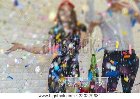 Business people of successful with drinking champagne, talking and smiling while celebrating in office and Happy New Year.
