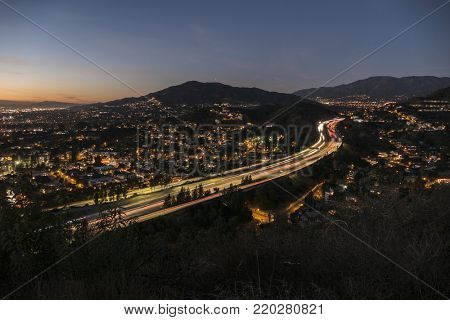 Night view of the Glendale Freeway near Los Angeles, California.