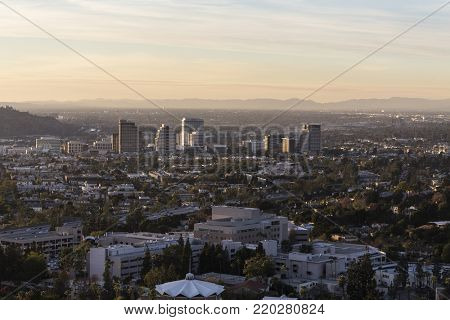 Glendale and the San Fernando Valley in Los Angeles California at dusk.