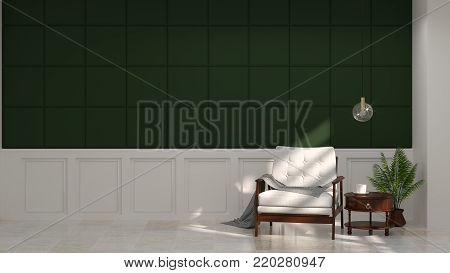 White armchair in front of green wall white lamp and sideboard in vintage empty room 3d rendering luxury living room modern mid century room interior