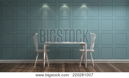 White Chairs And Tables In Front Of Blue Wall Vintage Empty Room 3d Rendering Luxury Living
