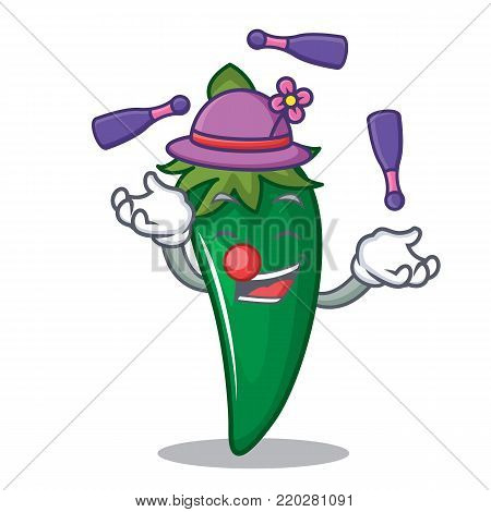 Juggling green chili character cartoon vector illustration