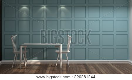 White chairs and tables left corner in front of blue wall vintage empty room 3d rendering luxury living room modern mid century room interior dining room