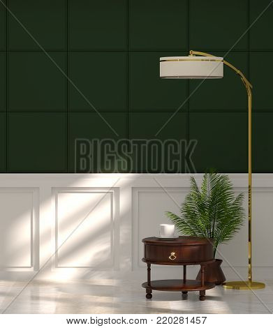 sideboard in empty room in front of green wall with lamp vintage room 3d rendering luxury living room modern mid century room interior nobody in room