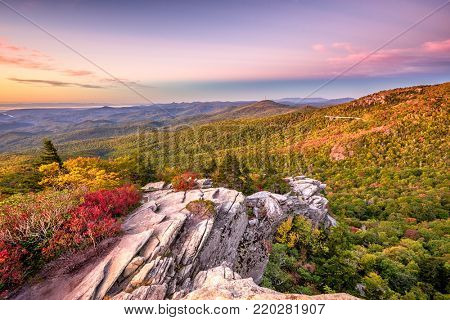Blue Ridge Mountains landscape at Linn Cove Viaduct and Grandfather Mountain.