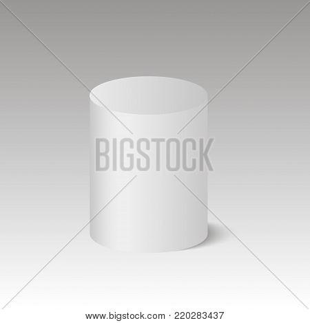 Round box. Cylinder. Barrel. Pedestal. 3D. Vector illustration