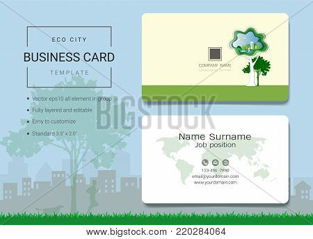 Eco city business card or name card template, Simple style also modern and elegant with trees landscaping background, It's fully layered and editable, Easy to customize it to fit your needs.