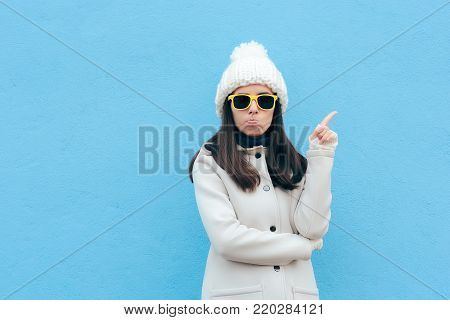 Funny Woman with Yellow Sun Glasses Gesturing a No Sign