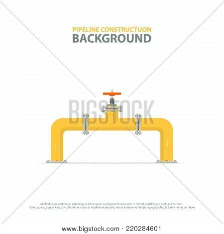 Industrial background with yellow pipeline and valve. Oil, water or gas pipelines. Vector illustration.