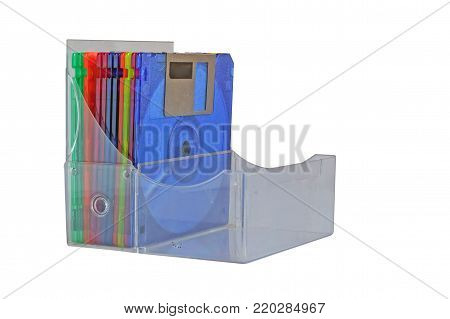 Box of floppy disk on white background, old technology and legacy industrial computer equipment