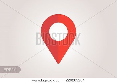 New Flat design Map pin red style modern icon, pointer, label, minimal vector symbol, marker sign Vector EPS 10