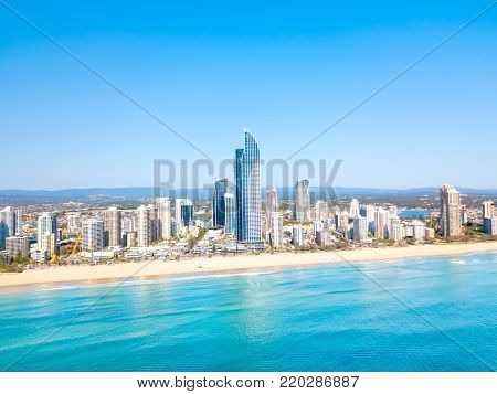 An aerial view of Surfers Paradise on the Gold Coast in Queensland, Australia