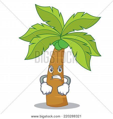 Angry palm tree character cartoon vector illustration