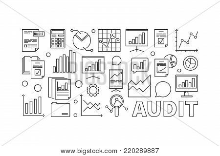 Audit concept business illustration. Vector financial audit horizontal linear banner on white background