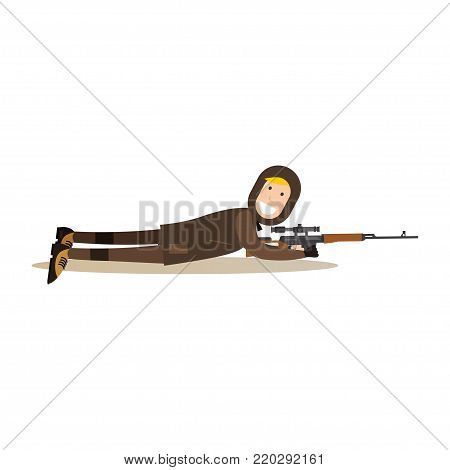 Vector illustration of hunter with rifle laying on the ground. Hunter people flat style design element, icon isolated on white background.