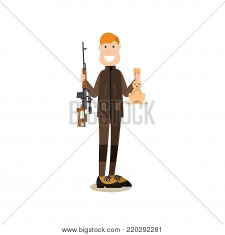 Vector illustration of hunter holding rabbit in one hand and rifle in the other. Hunter people flat style design element, icon isolated on white background.