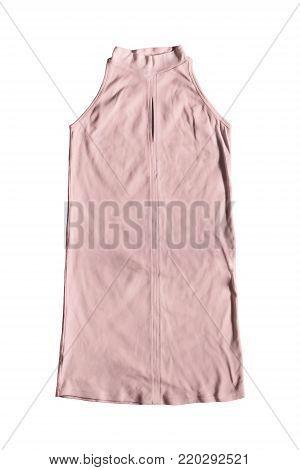 Pink halter mini dress isolated over white