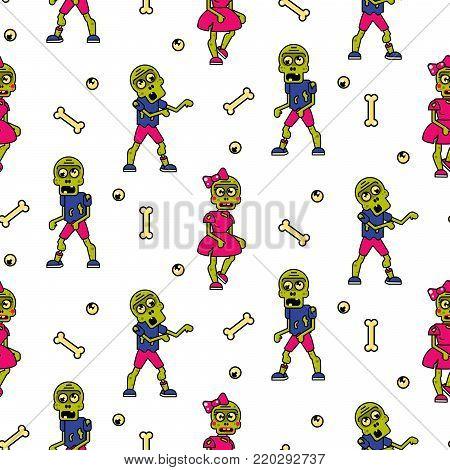 Zombie cartoon teen couple seamless pattern. Junior fashion street background.