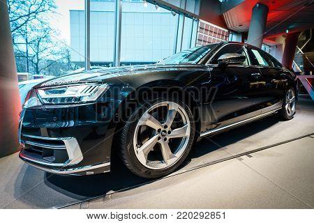 BERLIN - DECEMBER 21, 2017: Showroom. Full-size luxury car Audi A8 3.0 TDI quattro (286PS). Since 2018.