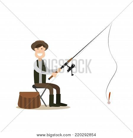 Vector illustration of fisherman catching fish while sitting on chair. Fisher with fishing rod flat style design element, icon isolated on white background.