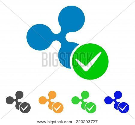 Accept Ripple icon. Vector illustration style is a flat iconic accept ripple symbol with gray, yellow, green, blue color versions. Designed for web and software interfaces.