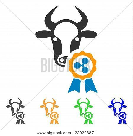 Cow Ripple Reward icon. Vector illustration style is a flat iconic cow ripple reward symbol with gray, yellow, green, blue color versions. Designed for web and software interfaces.