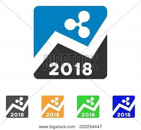 Ripple 2018 Exchange Market icon. Vector illustration style is a flat iconic ripple 2018 exchange market symbol with gray, yellow, green, blue color versions. Designed for web and software interfaces.