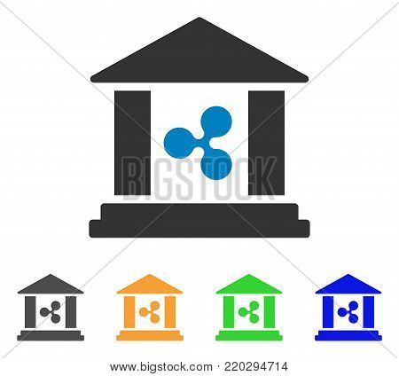 Ripple Bank Building icon. Vector illustration style is a flat iconic ripple bank building symbol with gray, yellow, green, blue color variants. Designed for web and software interfaces.