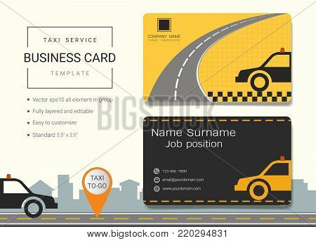 Taxi service business card or name card template, Simple style also modern and elegant with taxi and road background, It's fully layered and editable, Easy to customize it to fit your needs.