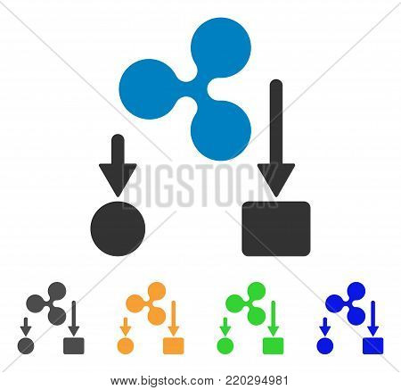 Ripple Cashflow icon. Vector illustration style is a flat iconic ripple cashflow symbol with grey, yellow, green, blue color variants. Designed for web and software interfaces.