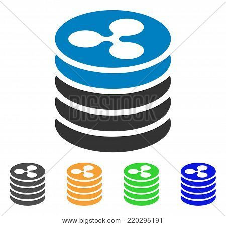 Ripple Coin Stack icon. Vector illustration style is a flat iconic ripple coin stack symbol with gray, yellow, green, blue color variants. Designed for web and software interfaces.