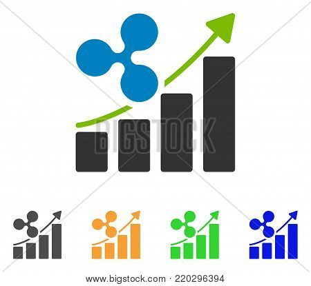 Ripple Growing Trend icon. Vector illustration style is a flat iconic ripple growing trend symbol with gray, yellow, green, blue color versions. Designed for web and software interfaces.