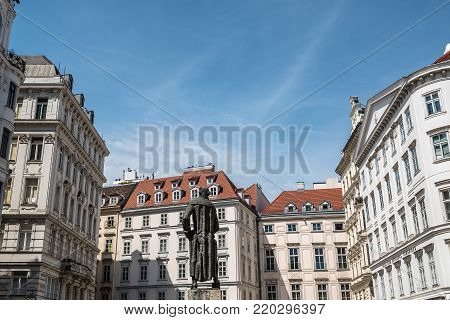 Vienna,  Austria - August 16, 2017: Lessing Denkmal statue in Judenplatz  in jewry district in historical city center of Vienna.