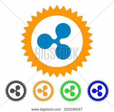 Ripple Insignia Stamp icon. Vector illustration style is a flat iconic ripple insignia stamp symbol with gray, yellow, green, blue color variants. Designed for web and software interfaces.