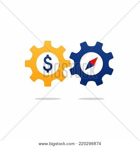 Business and finance concept icon, time and money investment gear wheel and cogwheel. Flat design vector illustration