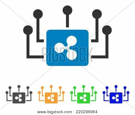 Ripple Masternode Links icon. Vector illustration style is a flat iconic ripple masternode links symbol with gray, yellow, green, blue color variants. Designed for web and software interfaces.