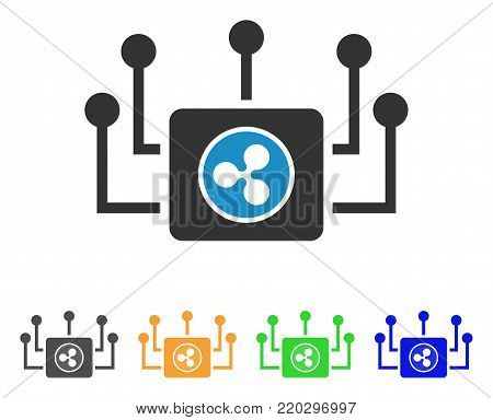 Ripple Masternode Links icon. Vector illustration style is a flat iconic ripple masternode links symbol with gray, yellow, green, blue color versions. Designed for web and software interfaces.
