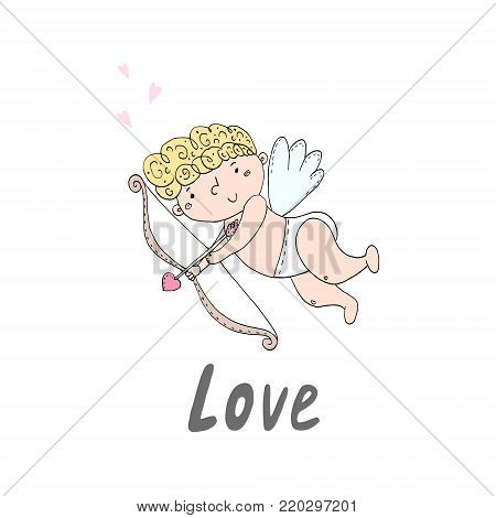 Hand drawn cupid with bow and arrow. Doodle cute cupid. Vector illustration