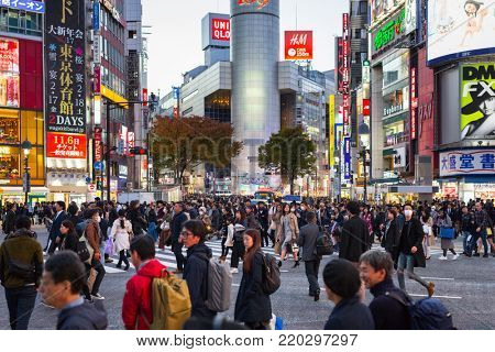TOKYO, JAPAN - NOVEMBER 12, 2016: Crosswalk at Ikebukuro district of Tokyo metropolis, Japan. Tokyo Metropolis is both the capital and most populous city of Japan.