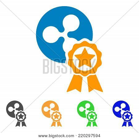 Ripple Reward icon. Vector illustration style is a flat iconic ripple reward symbol with gray, yellow, green, blue color versions. Designed for web and software interfaces.