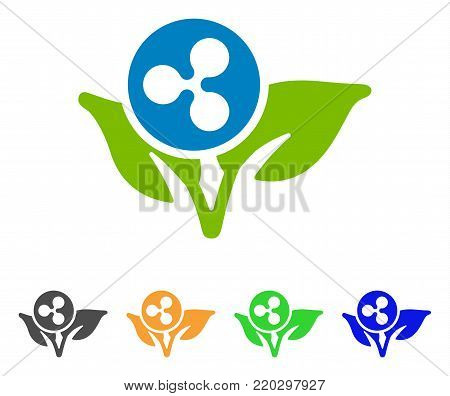 Ripple Sprout Startup icon. Vector illustration style is a flat iconic ripple sprout startup symbol with grey, yellow, green, blue color versions. Designed for web and software interfaces.