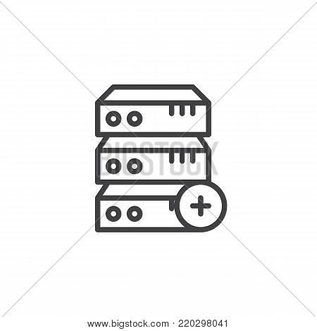 Computer server plus add line icon, outline vector sign, linear style pictogram isolated on white. Database add symbol, logo illustration. Editable stroke