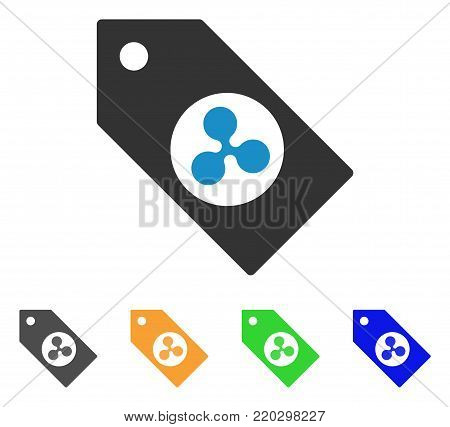 Ripple Token icon. Vector illustration style is a flat iconic ripple token symbol with grey, yellow, green, blue color versions. Designed for web and software interfaces.