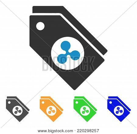Ripple Tokens icon. Vector illustration style is a flat iconic ripple tokens symbol with grey, yellow, green, blue color versions. Designed for web and software interfaces.