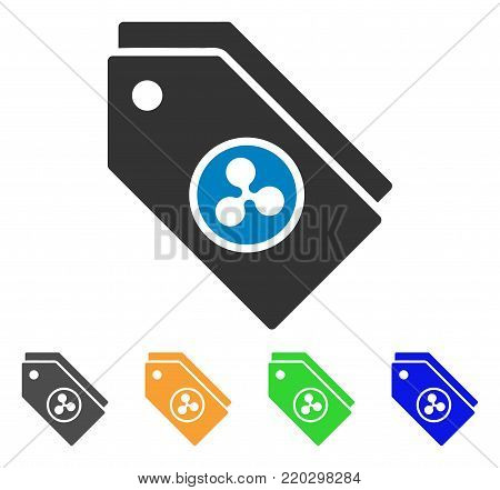 Ripple Tokens icon. Vector illustration style is a flat iconic ripple tokens symbol with gray, yellow, green, blue color variants. Designed for web and software interfaces.