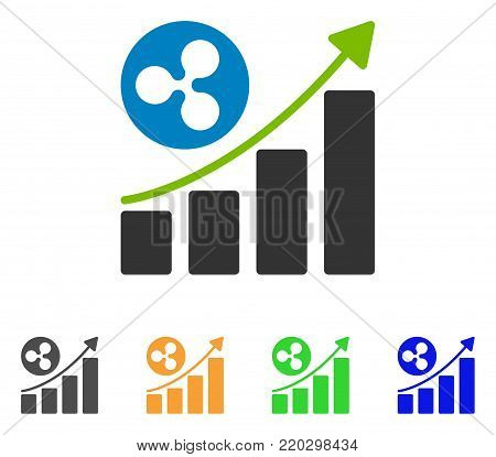Ripple Up Trend icon. Vector illustration style is a flat iconic ripple up trend symbol with gray, yellow, green, blue color versions. Designed for web and software interfaces.