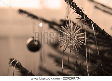 close photo of a twig of Christmas tree decorated with a straw star in ochre tones