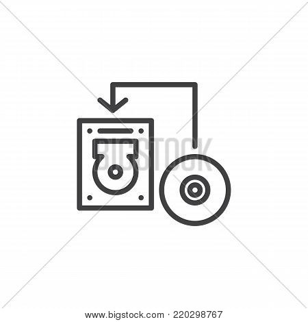 Transfer disk into hard drive disk line icon, outline vector sign, linear style pictogram isolated on white. Data recovery symbol, logo illustration. Editable stroke